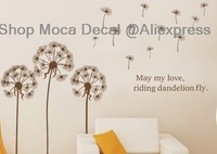 64*46cm Dandelions flowers Home House Glass Windows Home Decoration Removable Wall Decal Vinyl Stickers DIY Required