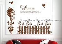 90*60cm Love Fence Home House Glass Windows Home Decoration Removable Wall Decal Vinyl Stickers DIY Required