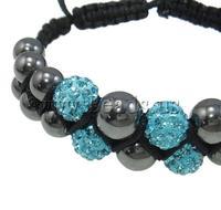 Free shipping!!!Rhinestone Shamballa Bracelets,Christmas Gift, Clay, Round, handmade, with rhinestone, mixed colors, 10mm