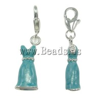 Free shipping!!!Zinc Alloy Lobster Clasp Charm,hot sale, Garment, enamel, blue, nickel, lead & cadmium free, 10x38x6mm