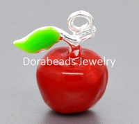 Free Shipping! 10 Silver Plated Enamel 3D Apple Charm Pendants 19x15mm (B09566)