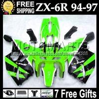 7gifts  For KAWASAKI NINJA ZX6R green black 94 94 95 96 97 ZX-6R ZX 6R 6 R C#532 1994 green blk 1995 1996 1997 Full Fairing Kit
