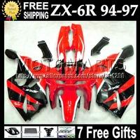 7gifts  For KAWASAKI NINJA ZX6R 94 94 95 Red black 96 97 ZX-6R ZX 6R 6 R C#531 1994 1995 1996 red black 1997 Full Fairing Kit