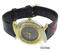 Free shipping!!!Fashion Watch Bracelet,Jewelry Making, Zinc Alloy, with Cowhide, plated, with rhinestone, nickel