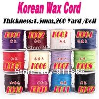 Free Shipping 200Yard/Roll 1.5mm Black Korea Waxed Polyester Beading Cords String Ropes Fit Shamballa Bracelets Making Diy