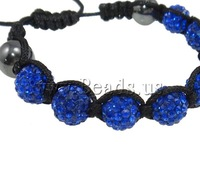 Free shipping!!!Rhinestone Shamballa Bracelets,hot sale, Clay, with Wax Cord & Non-magnetic Hematite, handmade, with rhinestone