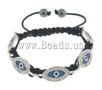 Free shipping!!!Evil Eye Connector Shamballa Bracelet,New 2013 Jewelry, Zinc Alloy, with Nylon Cord & Non-magnetic Hematite