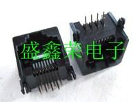 50pcs Free Shipping Rj45 socket ethernet port crystal head socket 623pcb-8p8c pcb socket black eco-friendly gold plated needle