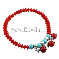Free shipping!!!Coral Bracelet,ethnic, Synthetic Coral, with Natural Turquoise & Zinc Alloy, synthetic, red, 7mm, Length:6 Inch