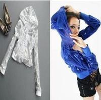 Hip-hop top costumes performance wear hiphop jazz dance female paillette hiphop costume with a hood short set