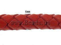 Free shipping!!!Leather Cord Bracelet,african style jewelry, Cowhide, brass magnetic clasp, platinum color plated, red, 6mm