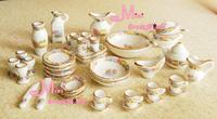 Dolls Toys For Girls Dollhouse Miniature Vintage Porcelain Tea Dinner Set 40PCS Furniture