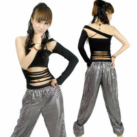 Sexy cutout ds clothes female costume racerback one shoulder hiphop jazz dance jazz top