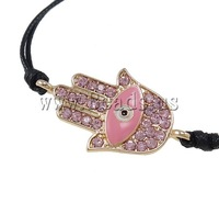 Free shipping!!!Zinc Alloy Bracelet,Tibet Jewelry, with Wax Cord, zinc alloy lobster clasp, gold color plated