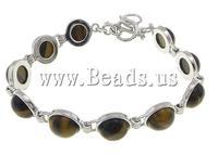 Free shipping!!! Jewelry Bracelet,fashion brand, Tiger Eye, brass toggle clasp, 12x12x6mm, Length:7.5-8.5 Inch, 10Strands/Lot