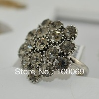 Antique Silver Plated New Arrival Finger Rings Women Rhinestone Alloy Ring R2999
