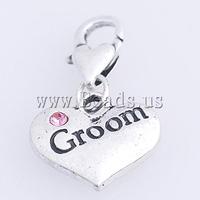 Free shipping!!!Zinc Alloy Lobster Clasp Charm,fantasy women jewelry, Heart, nickel, lead & cadmium free, 28x16x3mm