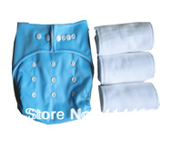 1pc Baby Infant One Size Pocket Cloth Diaper Nappy Cover Light Blue Washable  Reusabel with 3PCS Microfiber SOFT Liner Inserts