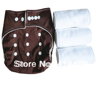New 1pc Brown Baby Infant One Size Pocket Cloth Diaper Nappy Cover Washable  Reusabel with 3PCS Microfiber SOFT Liner Inserts