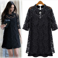 2013 summer lace one-piece dress fifth sleeve basic long skirt fashion design lace chiffon shirt small suspender skirt