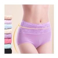 Plus Size Flower Pattern Body Shape Slimming Women Briefs Female Underwear Ladies' Soft Fabric Panties Girls' Shorts 5pcs/Lot
