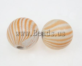 Free shipping!!!Wood Beads,Exaggerated, Round, water transfer painting, orange, 25mm, Hole:Approx 5mm, 100PCs/Bag, Sold By Bag