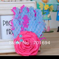 2013 new fashion feather headdress ribbon Diamond headband baby hair accessories 10pcs/lot
