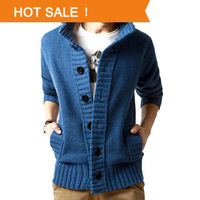 Men's real wool cotton sweater New 2013 fashion big lapel single-breasted winter wool coat cardigan man outwear Plus size