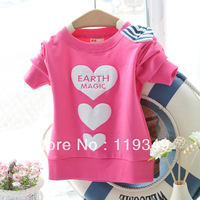 new arrival 2013 hot sale autumn baby girls o-neck bow t-shirt children's long-sleeve shirts kids hoodies & sweatshirt