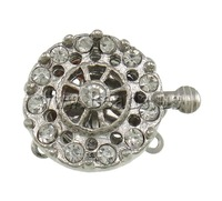 Free shipping!!!Brass Box Clasp,fantasy women jewelry, Flat Round, platinum color plated, 3-strand & with rhinestone & hollow