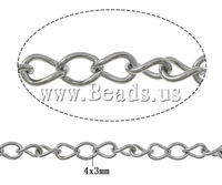 Free shipping!!!Stainless Steel Chain,fantasies for womens, oril color, 4x3x0.60mm, Length:100 m, Sold By Lot