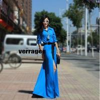 2014Fashion long-sleeve ultra long princess dress women slim vintage dress shirt type Bohemia blue one-piece full dress