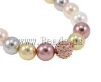Free shipping!!!South Sea Shell Bracelets,2013 new, with rhinestone pave bead, synthetic, multi-colored, 8mm, Length:7.5 Inch