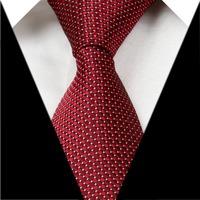Dark Red Grid 3.15'' 100% Silk Classic Jacquard Woven Man's Tie Necktie JS14