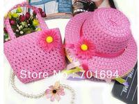Sunflower baby hat children  sun hat bucket hats small bag piece suit