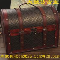 Antique wood box fashion vintage storage box props lock glove box wedding gift
