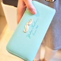 Letter scrub women's single zipper long design wallet mobile phone wallet