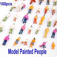 HO Scale 1:100 Mix Painted Model Train Park Street Passenger People/Figures 100pcs, Free Shipping wholesale