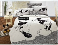 Cartoon MICKEY MOUSE black and white cotton 100% cotton girl kit duvet cover quilt bed sheets 1.5 meters bedding