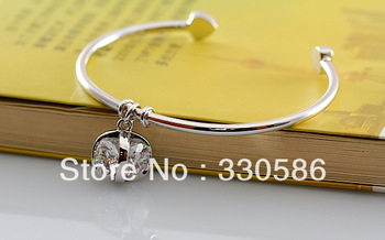 Italina simulation drill small cube pendant bracelet 18K white gold plated fashion jewelry  female christmas bangle