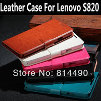 Dedicated lenovo s820 leather protective case holster for lenovo s820 stand function mobile phone retail packing freeshipping