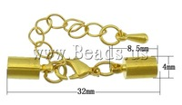 Free shipping!!!Brass Lobster Claw Cord Clasp,Beautiful Jewelry, with 2Inch extender chain, gold color plated, nickel