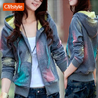 Ctrlstyle women clothing 2013 autumn all-match cardigan casual with a hood sweatshirt short jacket Free shipping