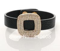 Black Color Fashin Charm Leather Bracelet,14K Gold Plated Braid Bracelet with Metal Botton Adjustable,Free Shipping