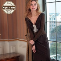 Wire spring and autumn noble sexy gauze knitted cotton patchwork elegant long sleeve length skirt nightgown home dress