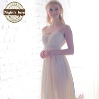 2014 New arrival Fresh design beige long spaghetti strap basic ruffle woven wide laciness sleepwear lounge Free shipping