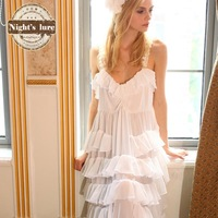 Wire summer beach sweet princess cake full dress chiffon tulle spaghetti strap nightgown multicolor home skirt female