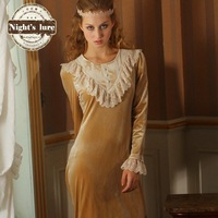 Wire autumn and winter fashion vintage royal lace collar princess nightgown velvet diamond home dress 120454