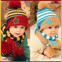 Baby ear protector cap baby hat five-pointed star knitted hat hat pocket scarf 2 piece set