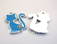 50pcs Cat Enamel Zinc alloy Metal DIY Hang Charms Pendands Jewelry accessories Fit cellphone